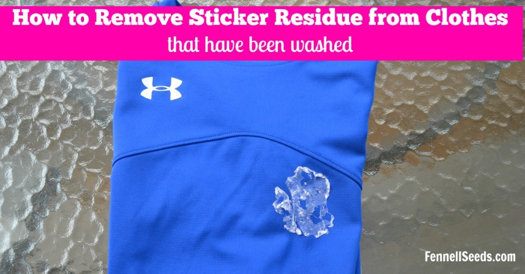 How to remove sticker residue from your clothes after they are washed. I have tried picking, soaking and scrubbing but nothing worked. I have thrown away several shirts until I found this way to remove sticker residue. It really does work and is super easy, no scrubbing involved.| how to remove sticker residue off clothes | how to get sticker residue off clothes | how to get a sticker off a shirt