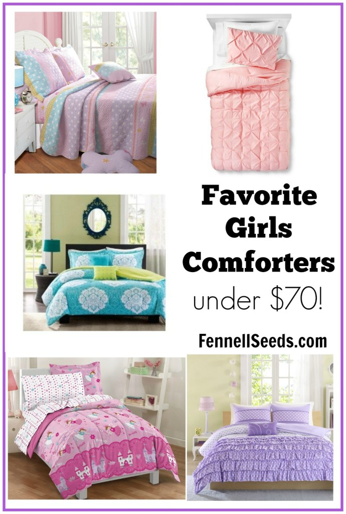 Here are my favorite girls comforters for under $70. I searched high and low for soft quality comforters for my girls room. I didn't want any TV or movie characters on them so this could grow with my daughter. Here are my favorites.