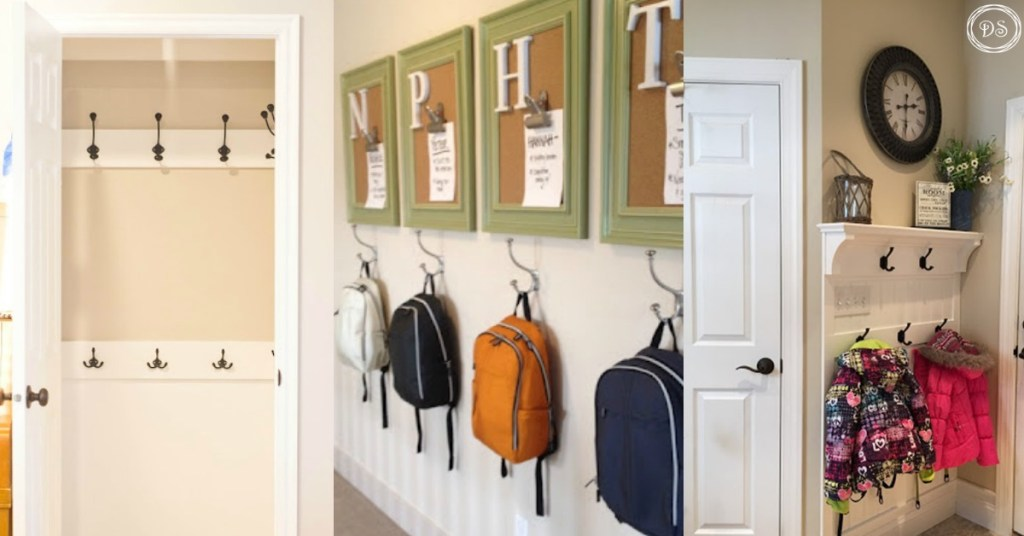 Backpack storage   Backpack storage ideas   Coat storage   Coat rack   coat hook   backpack hook   place for backpacks   mudroom ideas   mudroom organization