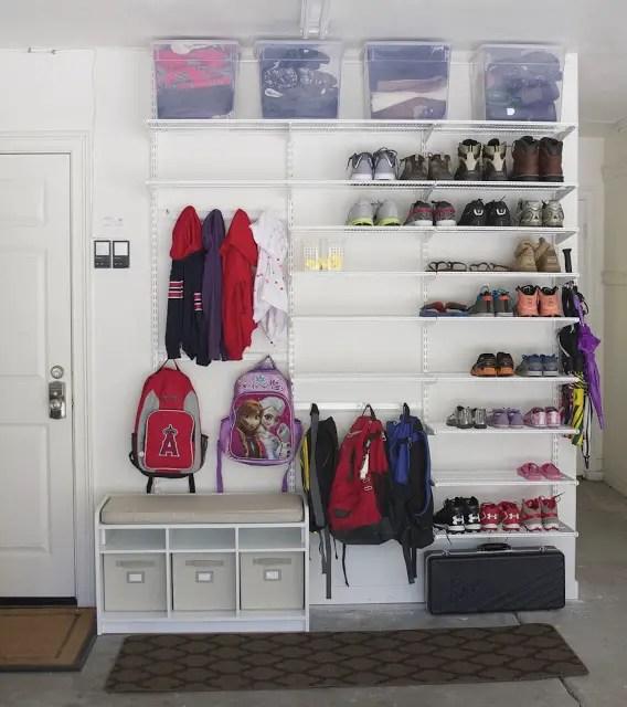 Backpack storage | Backpack storage ideas | Coat storage | Coat rack | coat hook | backpack hook | place for backpacks | garage mud room