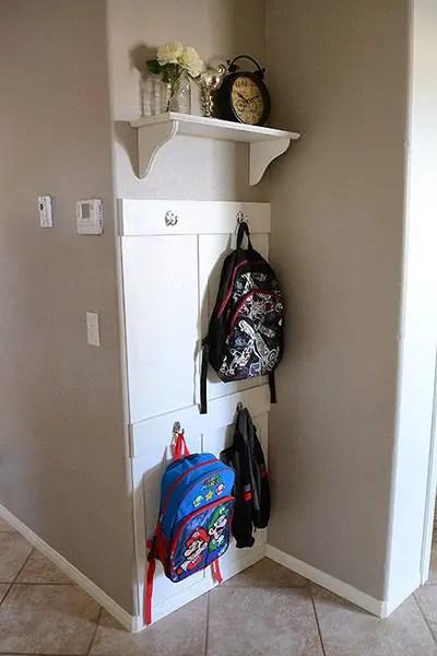 Backpack storage   Backpack storage ideas   Coat storage   Coat rack   coat hook   backpack hook   place for backpacks