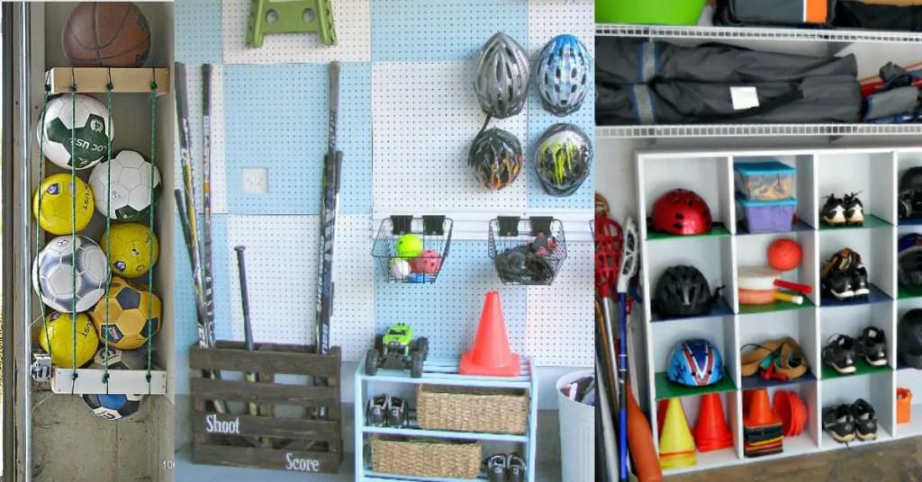 sports equipment storage   garage organization   how to store sports gear   store sports equipment   sports equipment organization   Scooter storage   ski equipment organization   hockey storage