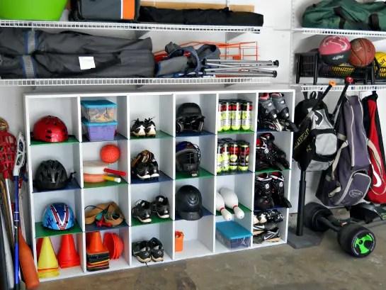 sports equipment storage | garage organization | how to store sports gear | store sports equipment | sports equipment organization