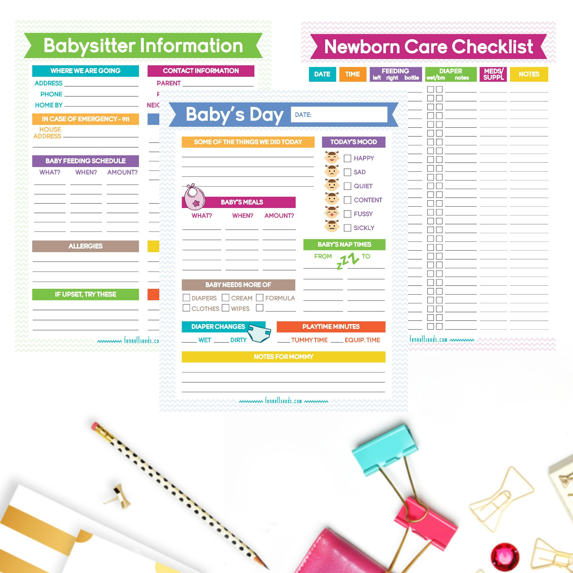 Newborn Printables | Organize your new baby's information with these 6 printables. Print as many as you would like. | Newborn Checklist | Babysitter Information | Baby's Day Information