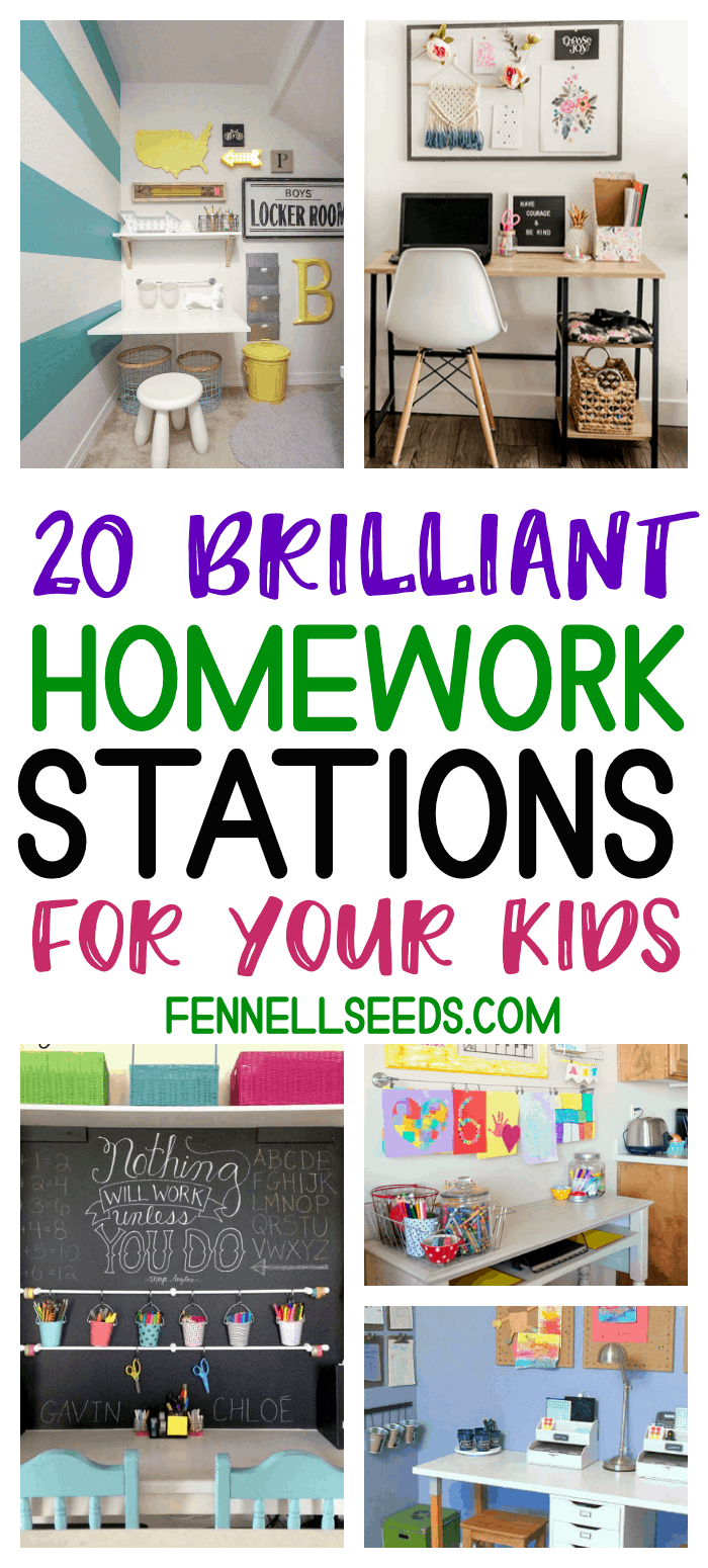 Genius Homework Stations Your Kids Will Love. These homework command centers will help define where homework should be done for your kids. #homework #homeworkstation #commandcenter