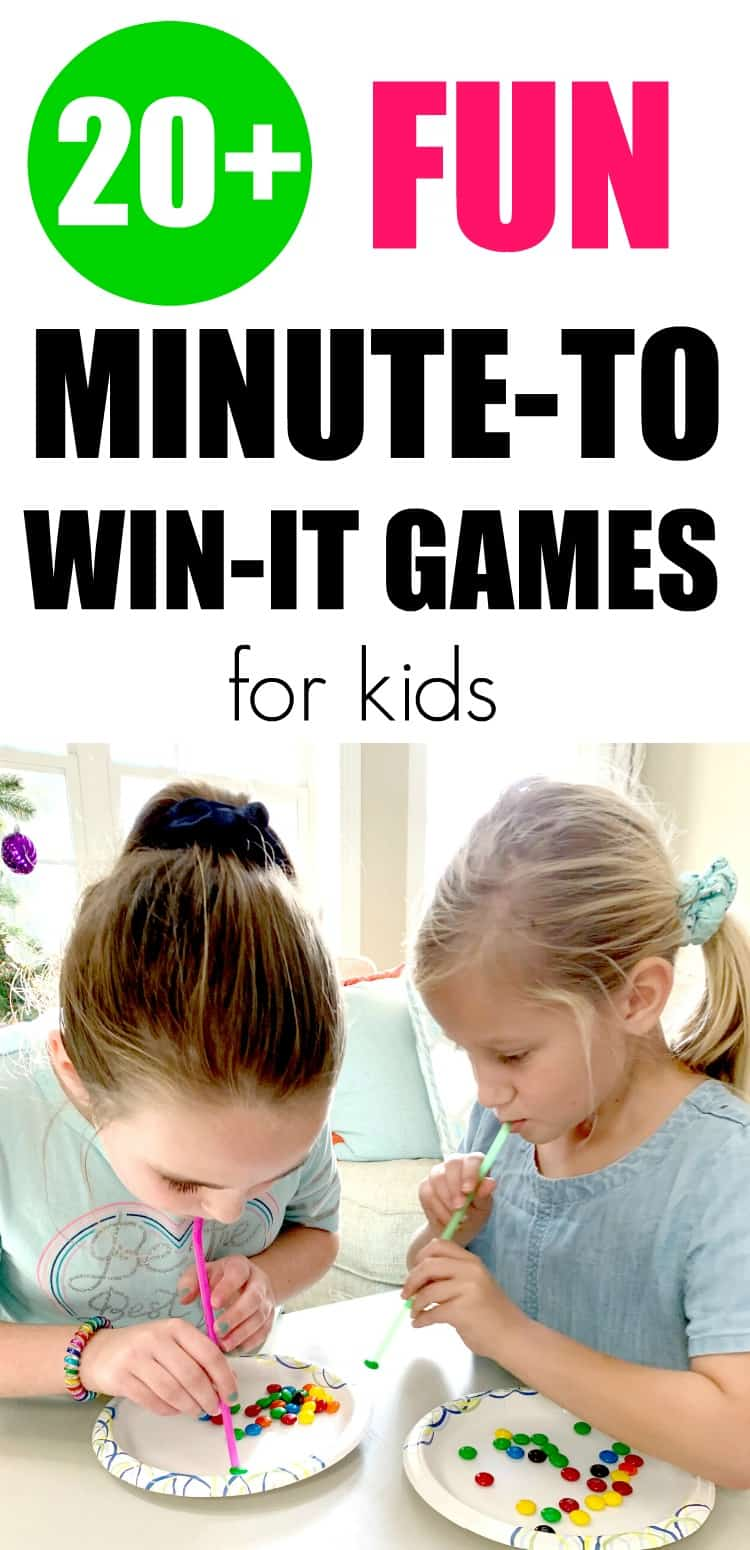Fun Minute to Win It games for kids that are easy to set up. #minutetowinit