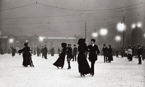 Ice Skating by night, Vienna, around 1910