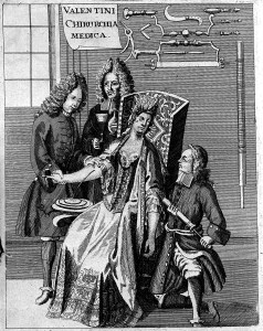 L0005142 Blood letting, 18th century. Credit: Wellcome Library, London. Wellcome Images images@wellcome.ac.uk http://wellcomeimages.org Scene of blood letting. 1715 Praxeos medicinae infallibilis, pars altera chirurgica, consiliis et observationibus, medico-chirurgicorum, nostro seculo felicissimorum Brunneri, Muralti, Muysii, Rauii, Ruischii ... ac responsis facultatum medicarum illustrata. Cum Nosocomii Academici continuatione, appendice de suturis et fasciis, ac myrotheca castrensi / Michael Bernhard Valentini Published: 1715. Copyrighted work available under Creative Commons Attribution only licence CC BY 4.0 http://creativecommons.org/licenses/by/4.0/