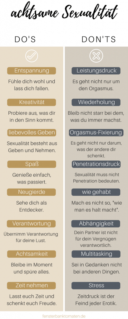 Infografik Slow Sex do's & don'ts