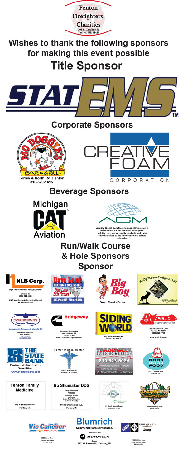 2012 Fenton Firefighter Charities Sponsors