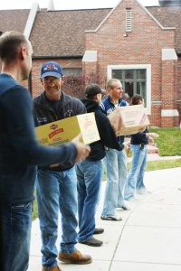 Volunteering for food drive