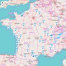 Carte des Centres de parachutismes et des souffleries.