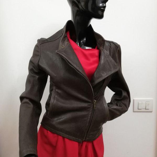 timeless design 1a384 67f6d Giubbotto Patermo Donna in Pelle nappa, colore Marrone, modello Chiodo,  alta qualità artigianale