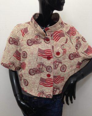 Mantellina patermo donna in cotone beige a motivi americani rossi