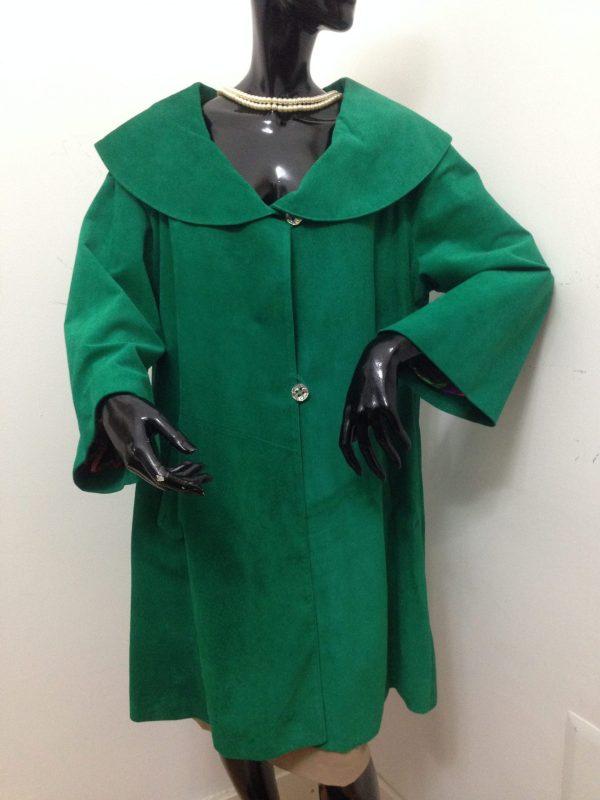 Spolverino patermo donna in pelle scamosciata colore verde cappotto alta qualità artigianale