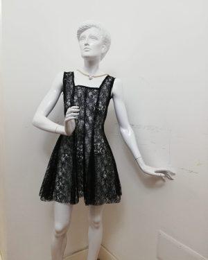 Vestitino Patermo Donna in Pizzo, colore Nero, modello Onda, Sfoderato, abito qualità artigianale