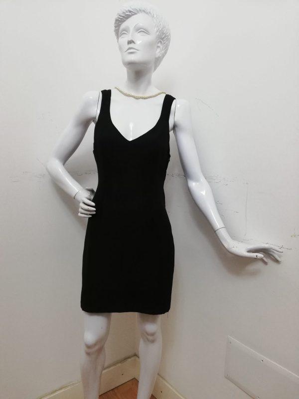 Tubino Patermo Donna in Crepe di Lana, colore Nero, scollo a V, abito qualità artigianale