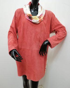 vestitino patermo donna in pelle scamosciata e seta colore corallo qualità artigianale