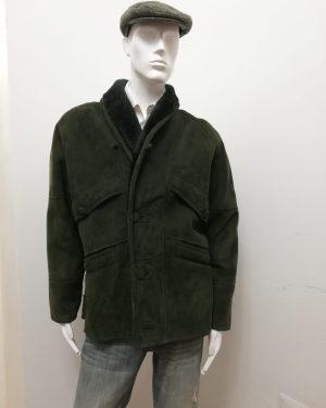 Giaccone Patermo uomo in Montone rovesciato, colore Verde, giubbotto altissima qualità artigianale