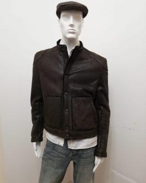 Giubbotto Patermo uomo, in Montone rovesciato, colore Marrone ed interno nero, giaccone alta qualità artigianale