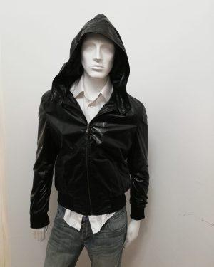 Giubbotto Patermo Uomo in Pelle nappa lucida, colore Nero, con cappuccio, giacca alta qualità artigianale