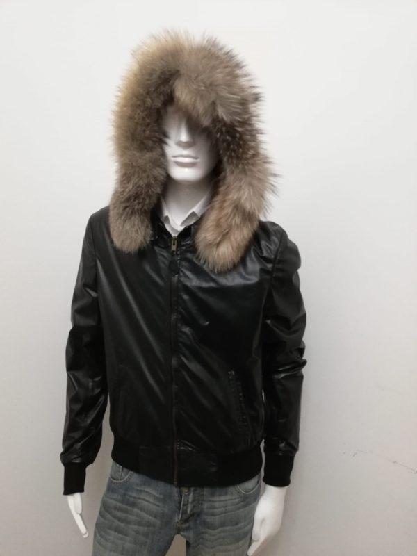 Giubbotto Patermo Uomo, in Pelle nappa, colore Nero, con cappuccio in pelliccia di volpe, giacca alta qualità artigianale