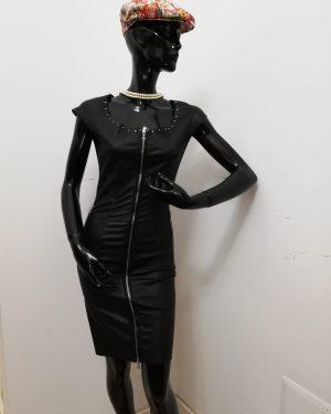 Tubino Patermo Donna in pelle nappa, colore Nero, borchie decorative, abito lungo qualità artigianale vestitino vestito