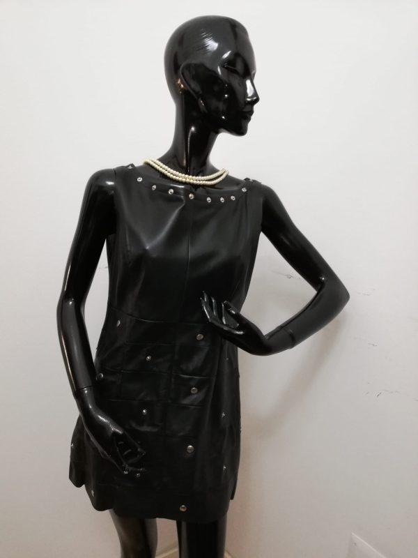 Vestitino Patermo Donna in Pelle nappa, colore Nero, collo a barca rimovibile, abito vestito qualità artigianale