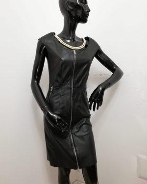 Tubino Patermo Donna in Pelle nappa, colore nero, abito vestitino qualità artigianale