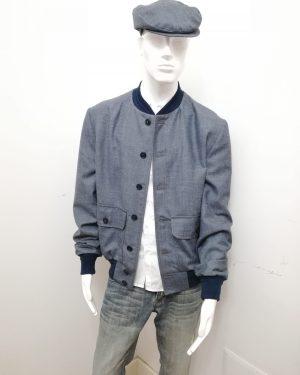 Giubbotto Patermo Uomo in pura Lana, colore Grigio Avion, giacca modello Blouson alta qualità artigianale