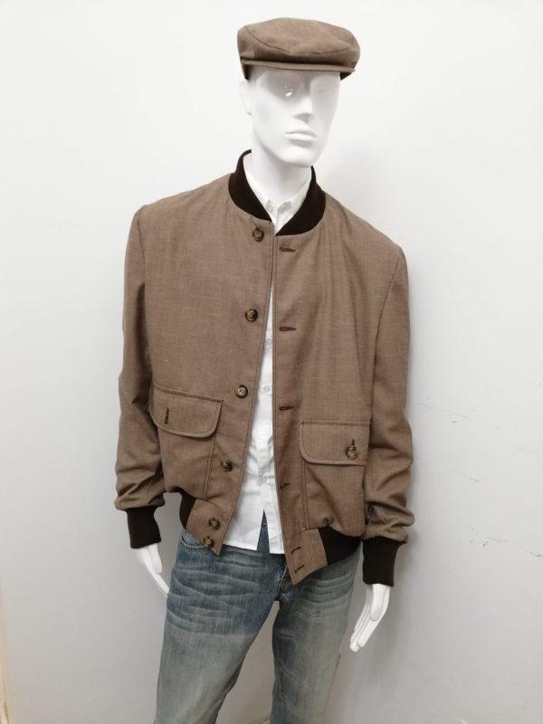Giubbotto Patermo Uomo in pura Lana, colore Nocciola e collo marrone, giacca modello Blouson alta qualità artigianale