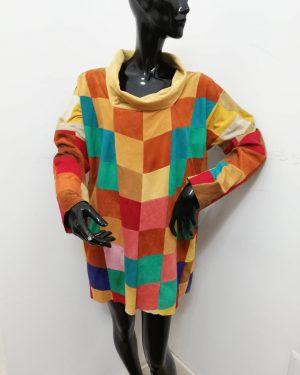 Blusa Patermo Donna in patchwork di Pelle scamosciata, vari colori, vestito alta qualità artigianale