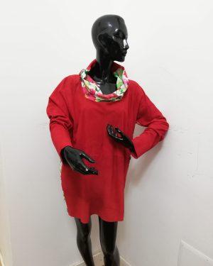 Blusa Patermo Donna in Pelle scamosciata e Viscosa a fiori, colore Rosso, vestitino alta qualità artigianale