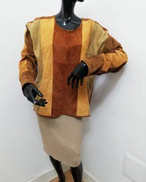 Blusa Patermo Donna in Pelle scamosciata, colore Marrone e Senape, giacca qialità artigianale
