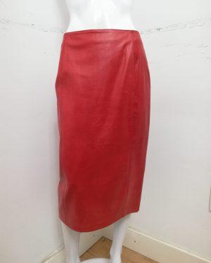 Gonna Patermo Donna in Pelle nappa, colore Rosso, spaco posteriore, alta qualità artigianale