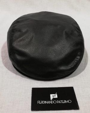 Coppola Patermo in Pelle Nappa, colore Nero, uomo donna, alta qualità artigianale, black cap Sicilian hat Italy cappello berretto