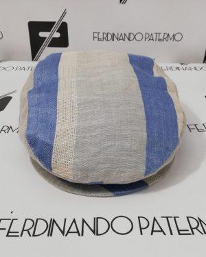Coppola Patermo in puro Lino, a strisce Bianco e Azzurro, uomo donna, qualità artigianale