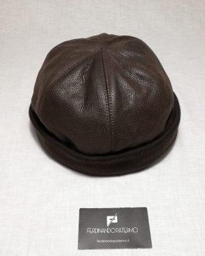 Zuccotto Patermo in Pelle e interno in Lana, colore Marrone scuro, uomo donna, cappello qualità artigianale