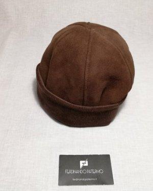 Zuccotto Patermo in Montone rovesciato e Lana, colore Marrone scuro, uomo donna, cappello qualità artigianale
