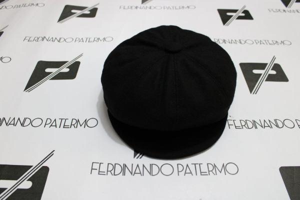 Coppola Patermo modello marsigliese in pura Lana, colore Nero, uomo donna, cappello qualità artigianale