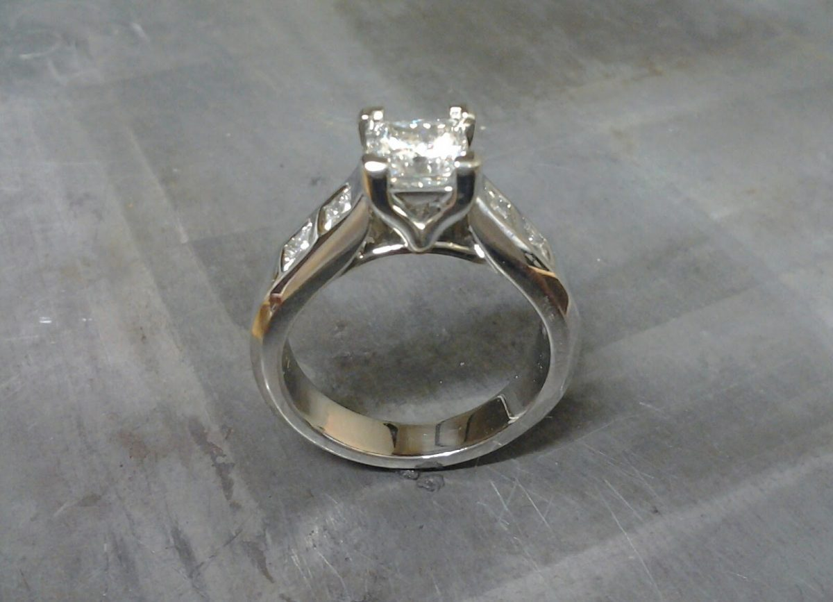 custom designed princess cut diamond in white gold engagement ring