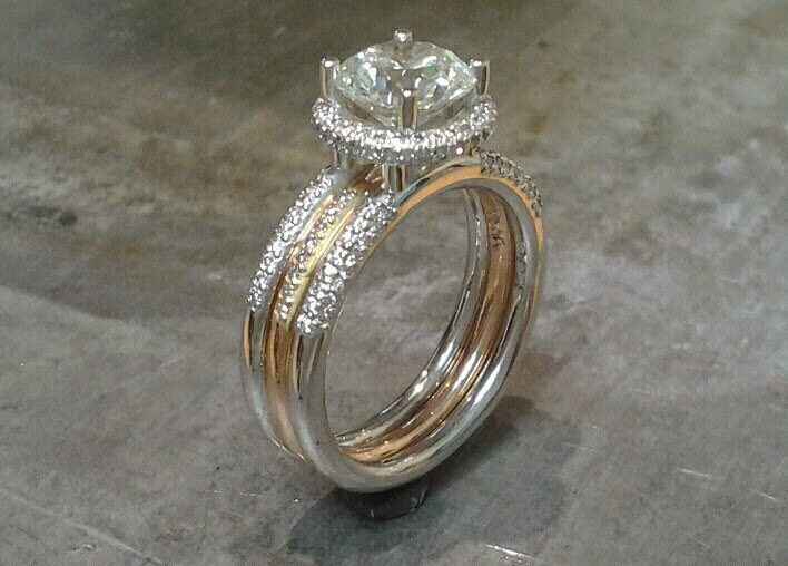 triple band delicate engagement ring white gold and gold with custom engraving and princess cut diamond in halo setting