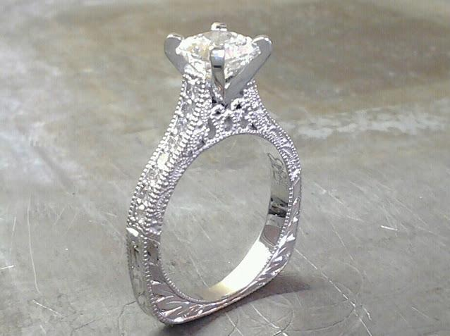 white custom filigree engagement ring with princess diamond in channel setting