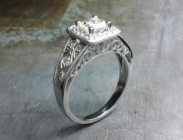 custom designed engagement ring by sean ferguson with princess cut diamond in square halo setting