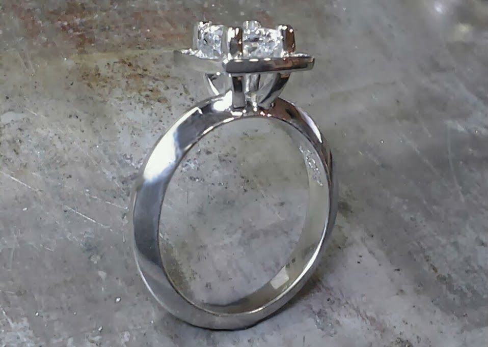band with princess cut diamond in square halo setting side view