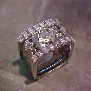 square ring with square diamond setting