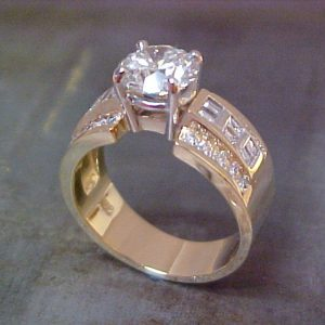 custom gold ring with large center diamond