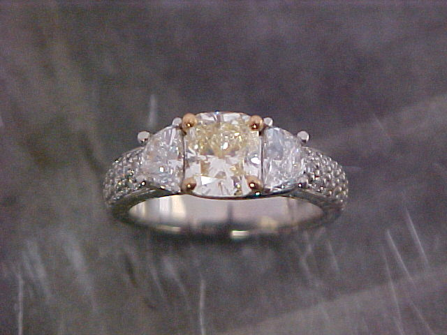 radiant cut diamond engagement ring with custom designed band by sean ferguson