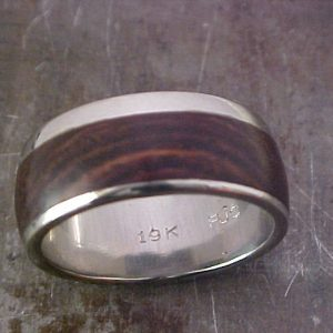 custom wedding band with wood inlay