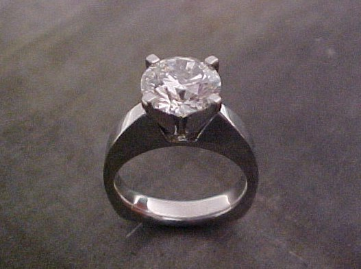 custom engagement ring with large center diamond